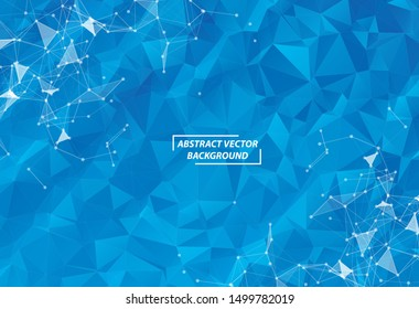 Abstract Blue Polygonal Space Dark Background with Connecting Dots and Lines , Futuristic Design.