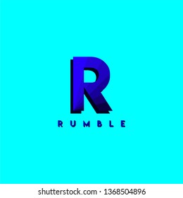 abstract blue r for rumble logo letter design concept