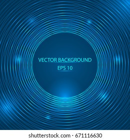 Abstract blue round lines with place for text vector illustration