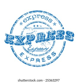 Abstract blue rubber office stamp with the word express written on the stamp