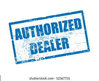 Abstract blue rubber office stamp with  the text authorized dealer written inside