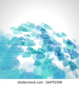abstract blue scattered cloud vector background, cloudy perspective