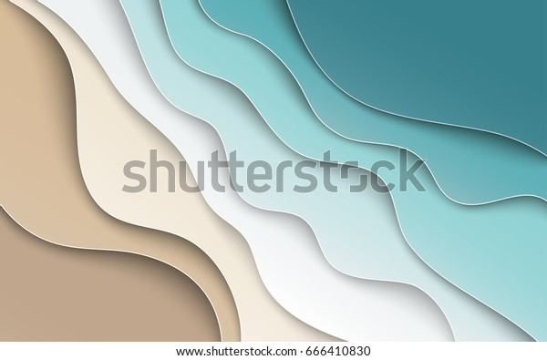 Abstract blue sea and beach summer background with paper waves and seacoast for banner, invitation, poster or web site design. Paper cut style, 3d effect imitation, space for text, vector illustration