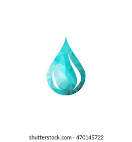 Abstract blue shiny drop of water background , creative concept, mosaic water drop, water icon, water sign, water logo, low poly water drop blue vector symbol