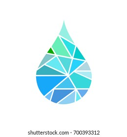 Abstract blue shiny drop of water background , creative concept, mosaic water drop, icon,  sign, logo