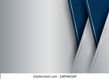 Abstract. blue - silver gradient geometric overlap shape background. vector.