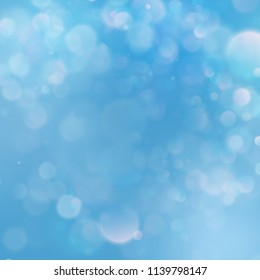 Abstract blue sky background with blur bokeh light effect. EPS 10 vector file