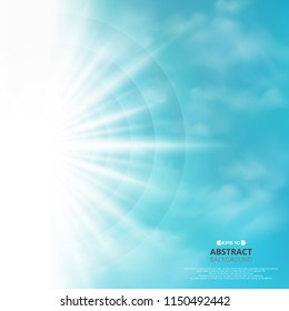 Abstract of blue sky with sun burst in side background, illustration vector eps10