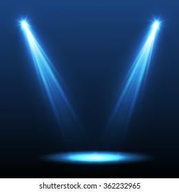 Abstract blue spotlight background. Vector illustration