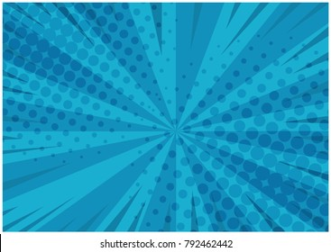 Abstract blue striped retro comic background with halftone corners. Cartoon turquoise background with stripes and half tone pattern for comics book, advertising design, poster, print
