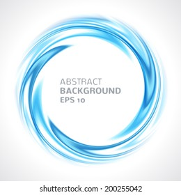 Abstract blue swirl circle bright background. Vector illustration for you modern design. Round frame or banner with place for text.