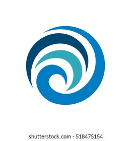Abstract Blue Swirl Tribal Sphere Logo Template
