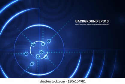 Abstract blue target, shooting range on black background. Vector isolated template for business goal. Shooting target success solutions concept.