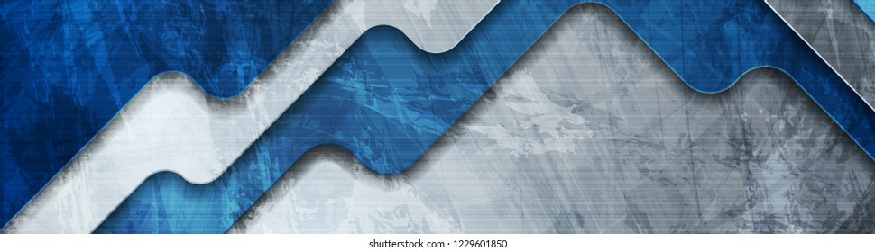 Abstract blue tech corporate grunge header banner design. Vector geometric background