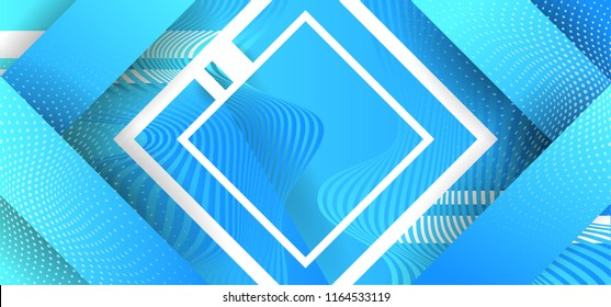 Abstract Blue technological background with illusion modern hipster futuristic graphic. Blue background with texture. Vector illustration.