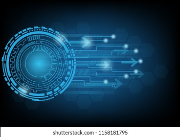 Abstract blue technology background with circle tech and arrows , Vector illustration