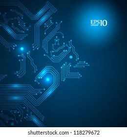 Abstract blue technology background with circuit board texture. Vector illustration.