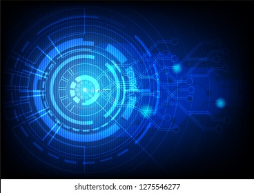 Abstract blue technology background.Vector circle and electricity line with blue electronic cycle.Digital data , circuit board, Scientific background,Digital art and Abstract background concept.
