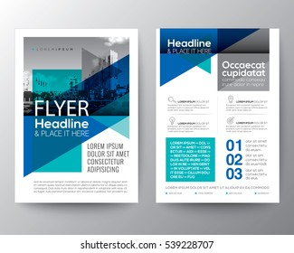 Abstract Blue Triangle geometric background for Poster Brochure Flyer design Layout vector template in A4 size