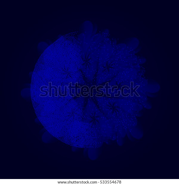 Abstract blue vector background with shape of dots.