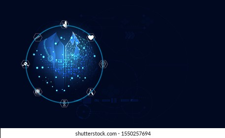 Abstract blue vector illustration with a futuristic concept. Medical treatment consists of blue digital doctor, medical icons such as brain medicine, DNA, medical equipment.