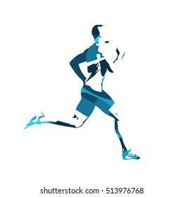 Abstract blue vector runner. Running man, vector isolated illustration. Sport, athlete, run, decathlon