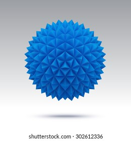 Abstract blue vector sphere with triangular faces. Isolated on white background