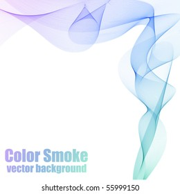 Abstract blue and violet vector smoke background with copy space.