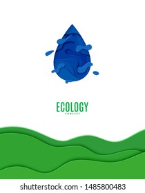 Abstract blue water drop in cut paper style. Cutout green grass wave template for for save the Earth posters, World Water Day, eco brochures. Vector blue waterdrop splash applique card illustration
