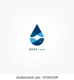 Abstract blue water drop. Vector logo design template.