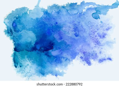 Abstract blue watercolor background, traced vector image