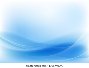 Abstract blue wave background. Design using white lines and blue wave lines in the composition. Vector illustration