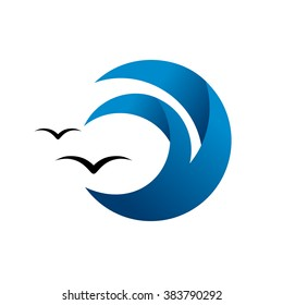Abstract blue wave, ocean surge badge, sea logo. Abstract water splash and seagulls.
