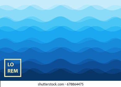 Abstract blue waves background for design. Vector marine wallpaper