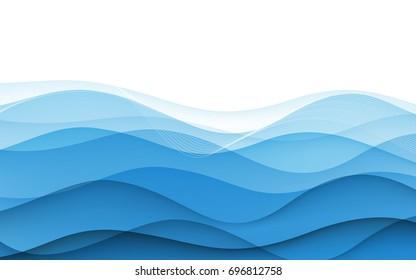 Abstract blue waves - data stream concept. Vector. Clip-art