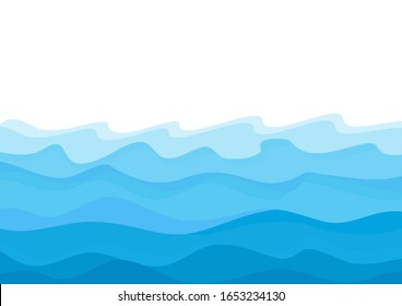 Abstract blue waves on white background vector illustration.