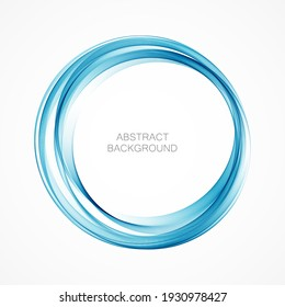 Abstract blue wavy circle.Wavy blue transparent frame.
