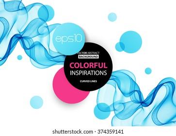Abstract blue wavy lines.  Colorful vector background