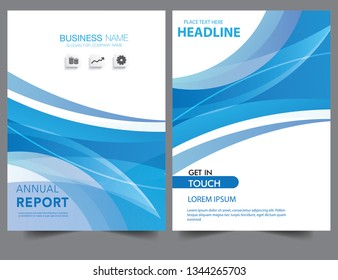 Abstract blue wavy wave gradient modern annual report flyer Brochure leaflet, the presentation cover, magazine advertising. cover with an abstract background. vector template layout of A4 format