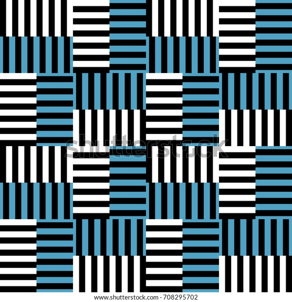 Abstract Blue White Black Stripe Pattern Stock Vector