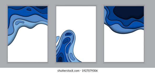 Abstract Blue and White Paper Cut Background Collection Set Template with Place for your text. Vector Illustration EPS10