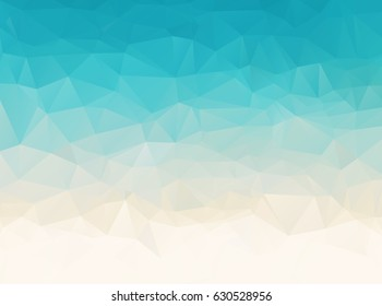 Abstract blue white sea beach polygonal background,vector