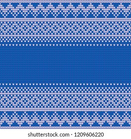 Abstract blue and white seamless knitting christmass pattern background