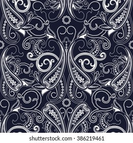Abstract blue and white seamless with paisley. Floral background c oriental motifs. Vector illustration