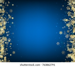 Abstract blue winter background with gold snowflakes. Christmas decoration. Vector illustration.