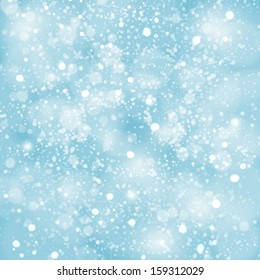 Abstract blue winter Christmas background with bokeh lights