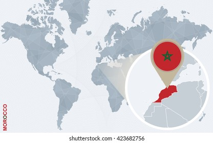 Abstract blue world map with magnified Morocco. Morocco flag and map. Vector Illustration.