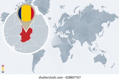 Abstract blue world map with magnified Chad. Chad flag and map. Vector Illustration.