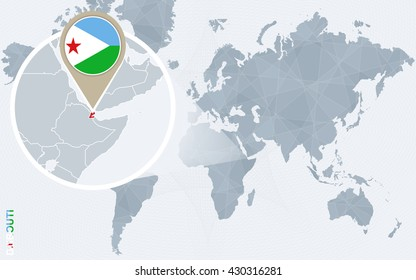 Abstract blue world map with magnified Djibouti. Djibouti flag and map. Vector Illustration.