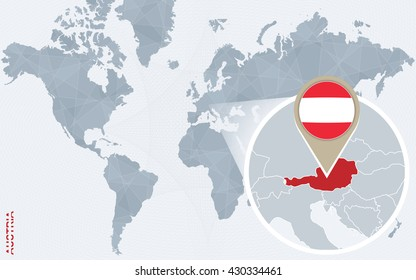 Map pointer icon images stock photos vectors shutterstock abstract blue world map with magnified austria austria flag and map vector illustration gumiabroncs Images